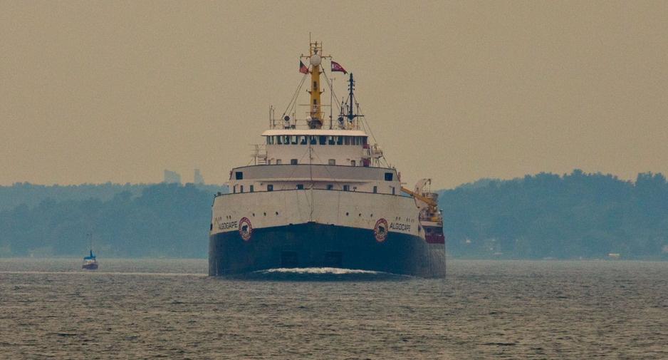 The lake freighter which ply the St. Lawrence Seaway do not give way to recreational vessels